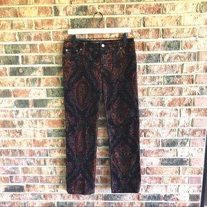 { RALPH LAUREN } Paisley Corduroy Straight Pants